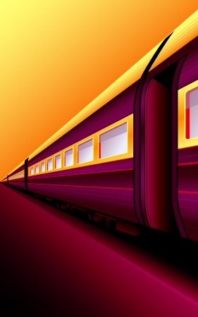Retro train waiting for an adventure at sunset platform Vector