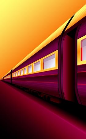 treno espresso: Retro treno in attesa di un'avventura a piattaforma tramonto Vettoriali