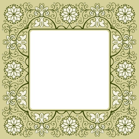 russian easter: Vintage floral rich decorated square frame