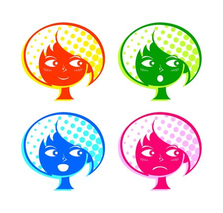 Colorful retro girl face with basic emotions Stock Vector - 19736362