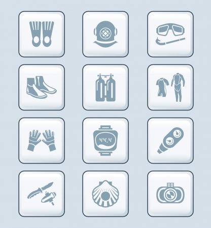 scuba diving: Duiken kleding, uitrusting en gereedschap icon-set Stock Illustratie