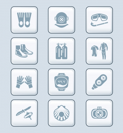 deep sea diver: Scuba diving clothing, gear and tools icon-set