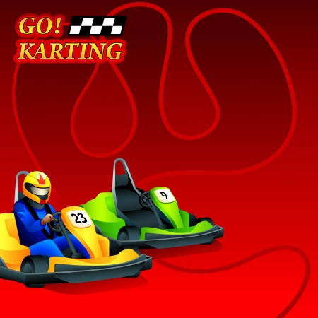 Go  Karting race ad poster or leaflet design Vector