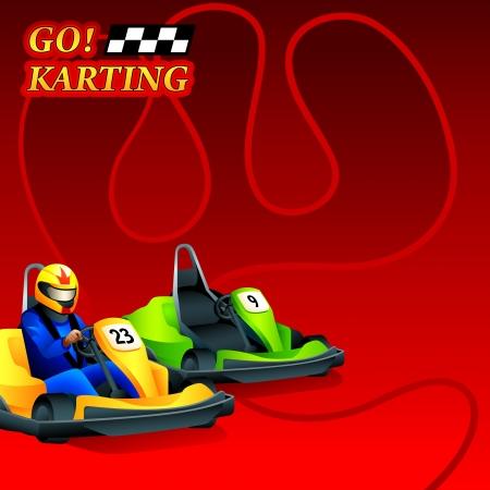 Go  Karting race ad poster or leaflet design
