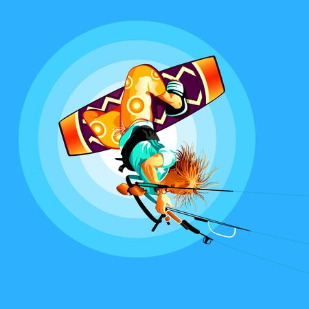 Young kitesurfer jumping on board onto the sky