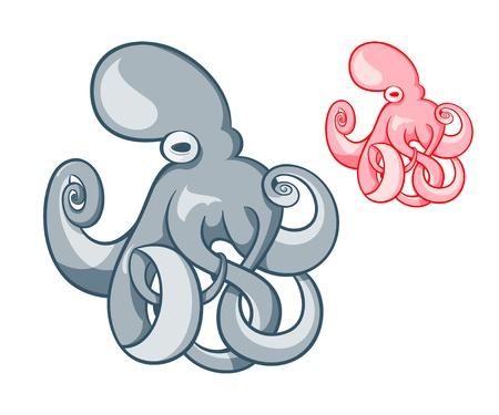 Gray and pink octopus symbol Vector