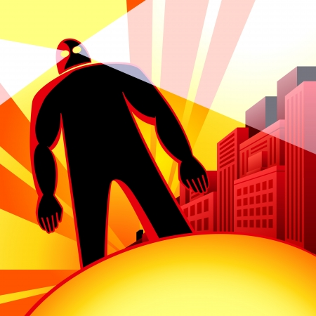 Mighty robot attack human city in sunset Stock Illustratie