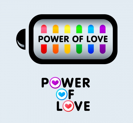Power of love sticker concepts for gay pride events Stock Vector - 20323710