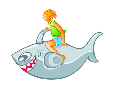 Happy boy on inflatable shark rocket isolated Vector