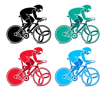 Colorful track cyclist at the competition Vector