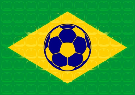 sectors: Brazil flag with soccer ball over stadium seats Illustration