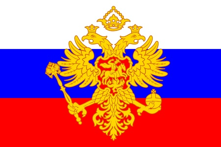double headed: Russian coat of arms (double-headed eagle) over flag Illustration