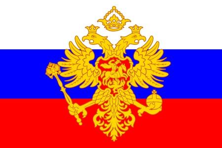 double cross: Russo stemma (aquila bicipite) sopra la bandierina Vettoriali