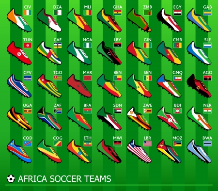 seeding: Leading African soccer team shoes with flags Illustration