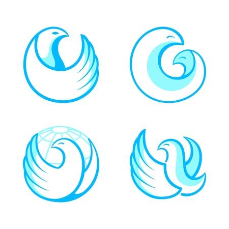 Blue round bird symbols isolated Stock Vector - 20763831