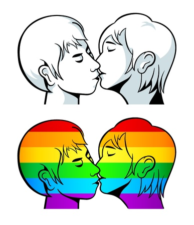 Kissing young couple contour and over gay pride flag Stock Vector - 20763832