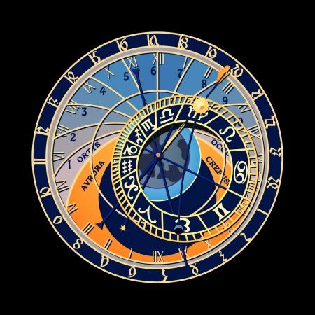 有名な天文時計でプラハ、チェコ共和国  イラスト・ベクター素材