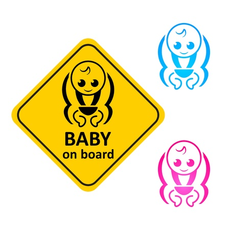 pampers: Baby on board sticker and color symbols Illustration