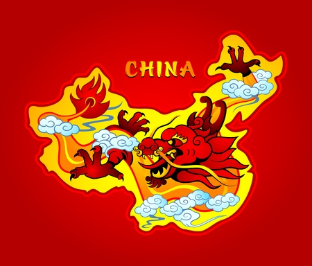 mighty: Map of China with a mighty sky dragon