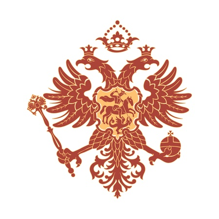 cross and eagle: Russian coat of arms (double-headed eagle) isolated Illustration