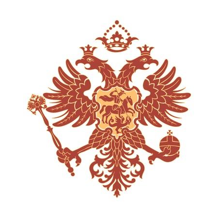 double cross: Russo stemma (aquila bicipite) isolato Vettoriali