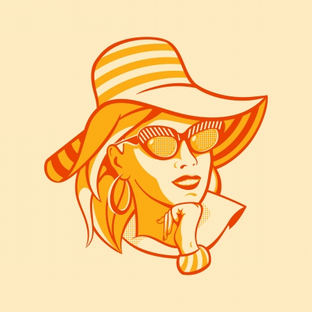 Vintage beach fashionable woman in halftone pattern Vector