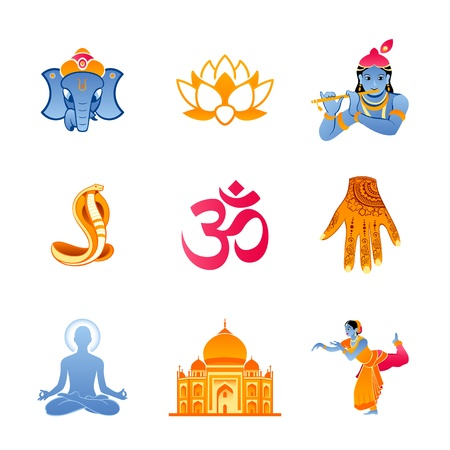 Spiritual, religious and culture icons of India Stock Vector - 21521436