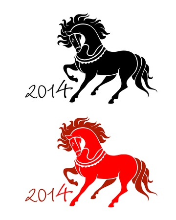 eastern zodiac: Horse symbol in black and red for New Year 2014 isolated Illustration