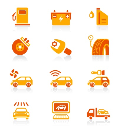 wheel change: Car care, tuning, repair and services red-orange icon-set Illustration