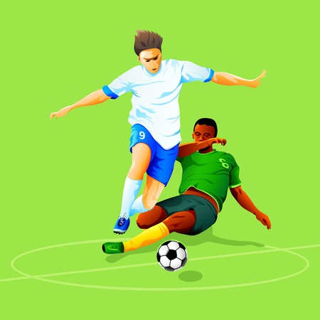 defenders: Two soccer players fighting for a ball