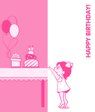 fancy box: Little girl birthday card with cake, present and balloons
