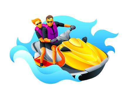 moto acuatica: Feliz pareja disfruta montar jet ski en el océano azul