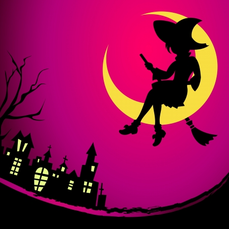 Fancy witch sitting on the Moon at Halloween night Stock Vector - 22967966