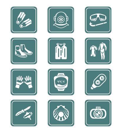 scuba diving: Duiken kleding, uitrusting en gereedschap groenblauw icon-set Stock Illustratie