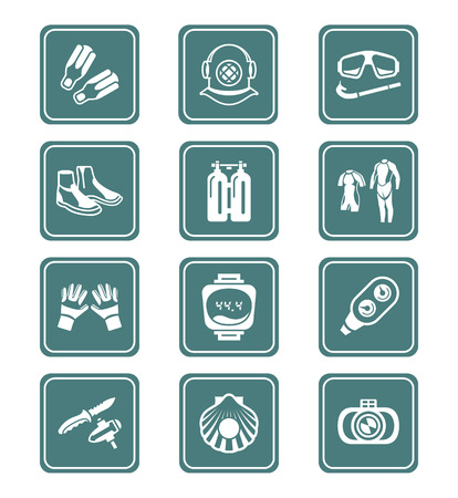 Scuba diving clothing, gear and tools teal icon-set Vector