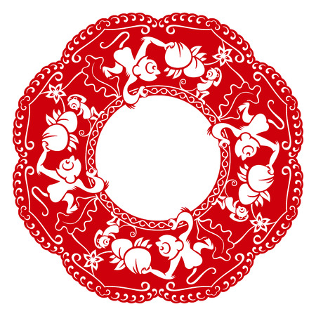 chinese frame: Papercut frame with monkeys and peach in chinese style