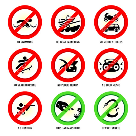 Park prohibited signs and ecology warnings, set III Stock Vector - 22968050