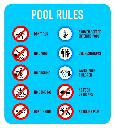 Conjunto de advertencia piscina típica y prohibidos signos