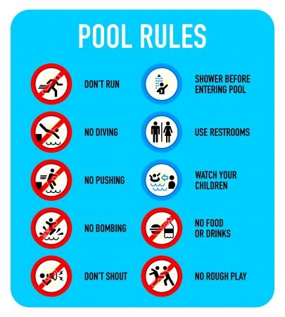 regel: Set van typische zwembad waarschuwing en verboden tekens
