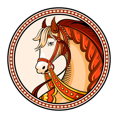 Horse emblem or sticker in russian native style Çizim