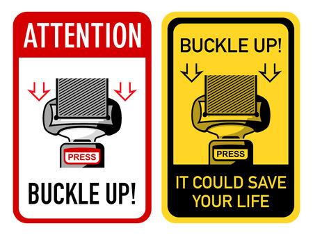 cinturon seguridad: Dos carteles con hebilla de cintur�n de seguridad Vectores