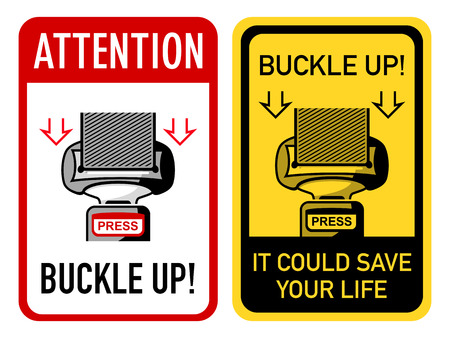 seatbelt: Two buckle up signs with safety belt Illustration