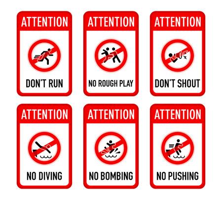 prohibido: Conjunto de advertencia piscina t�pica y prohibidos signos