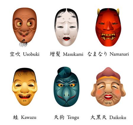 Japanese masks - usobuki, masukami, namanari, kawazu, tengu, daikoku Vector