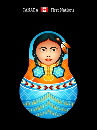 the inuit: Matryoshkas of the World: first nations girl in regalia
