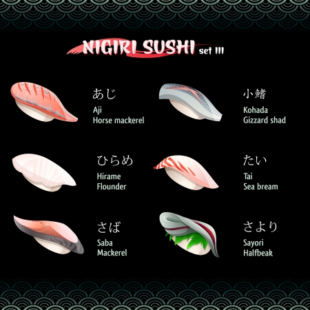 flounder: Nigiri sushi with mackerel, flounder, gizzard shad, sea bream and halfbeak