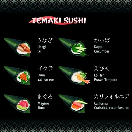 roe: Temaki sushi with eel, salmon roe, tuna, cucumber and prawn