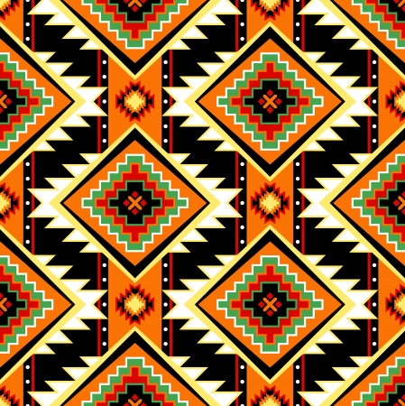 first nations: Traditional First nations clothing seamless pattern in warm colors Illustration