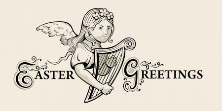 arpa: De felicitación de Pascua retro con la muchacha hermosa del ángel