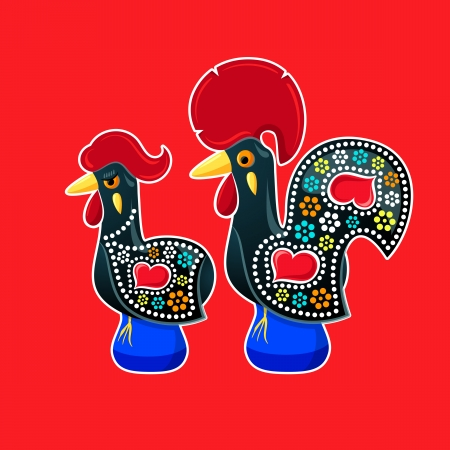 chicken family: Decorated Barcelos rooster and hen - symbols of Portugal
